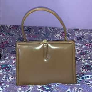 TANO vintage 30's brown leather top handle purse